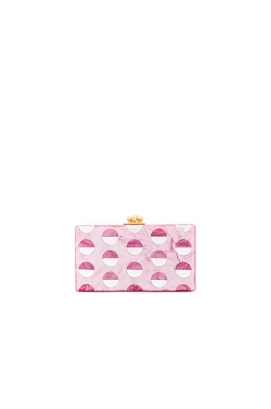 Edie Parker Jean Double Dot Clutch in Dusty Rose