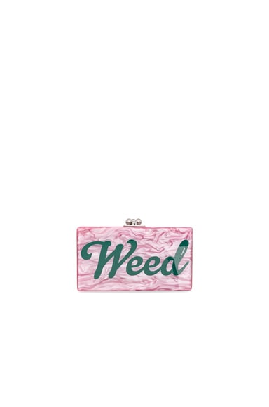 Edie Parker Jean Weed Clutch in Dusty Rose & Emerald
