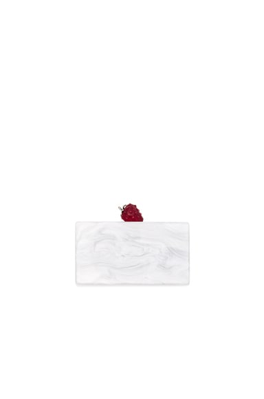 Edie Parker Jean Strawberry Clutch in White Pearlescent