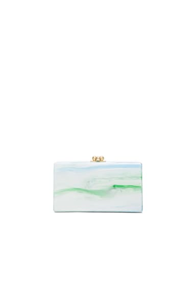 Jean Embroidery Inlay Clutch