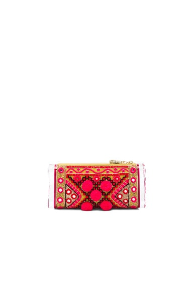 Edie Parker Soft Lara Embroidery Pouch in Red Tie Dye Multi