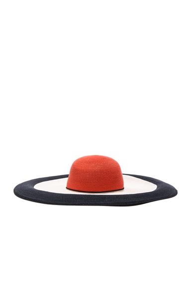 Eugenia Kim Sunny Hat in Black, Coral & Ivory