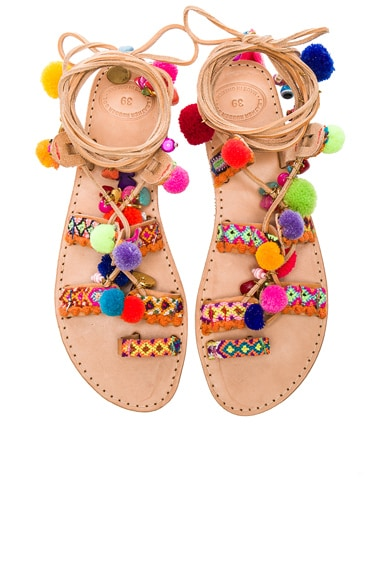 Elina Linardaki Penny Lane Leather Sandals in Multi