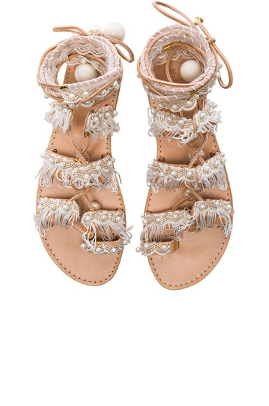 Elina Linardaki Leather Ever After Sandals in White