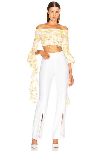 High Noon Frill Sleeve Crop Top