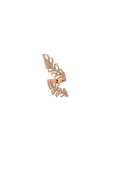 Elise Dray Swirl Feather Ring in Rose Gold & Brown Diamonds