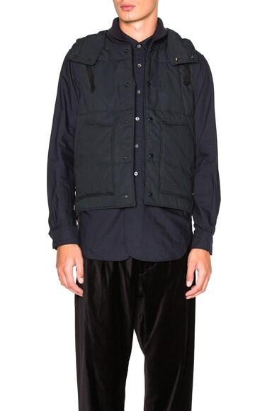 Engineered Garments Nyco Ripstop Primaloft Vest in Dark Navy