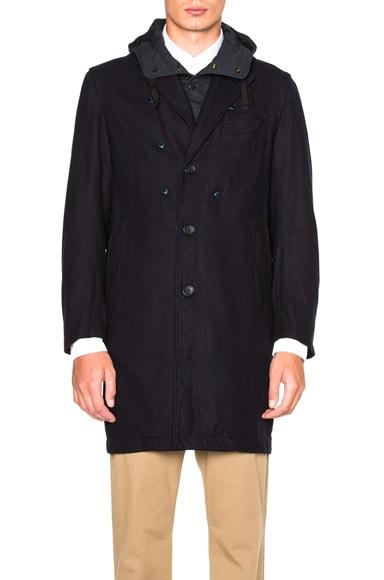Engineered Garments Melton Chester Coat in Dark Navy