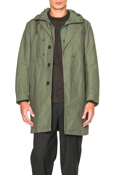 Engineered Garments Double Cloth Chester Coat in Olive