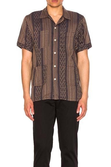 Multi Stripe Jacquard Camp Shirt