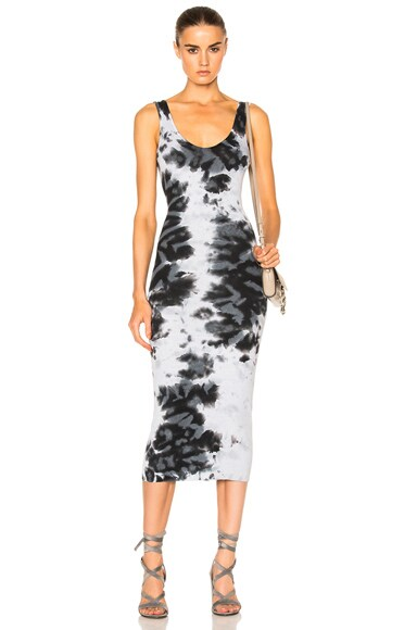 Enza Costa Rib Tank Midi Dress in Petrol Print