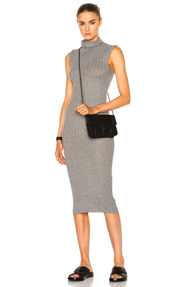 Enza Costa Turtleneck Rib Midi Dress in Smoke