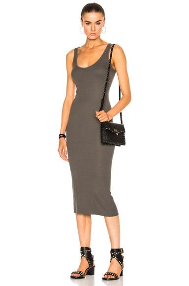 Enza Costa Rib Tank Dress in Sage