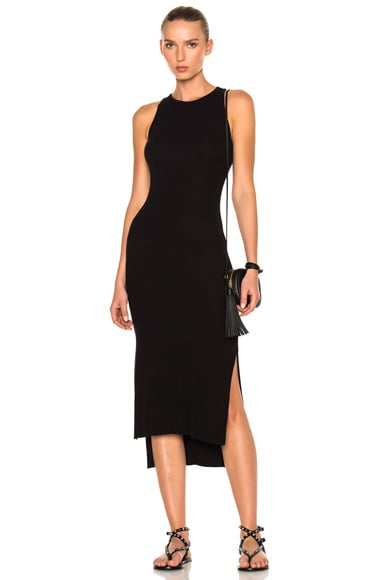 Rib Sleeveless Side Slit Midi Dress