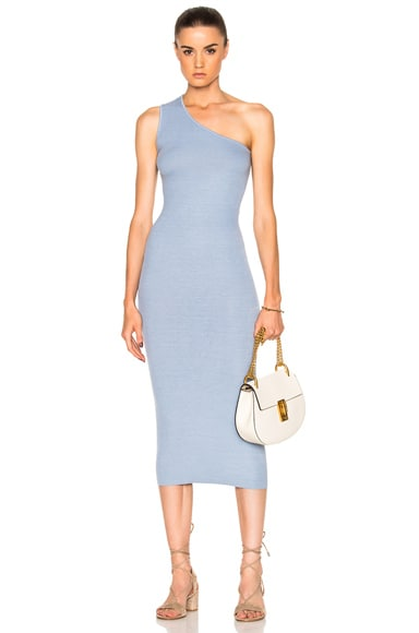 Rib One Shoulder Midi Dress