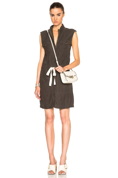Enza Costa Sleeveless Utility Dress in Feather Grey