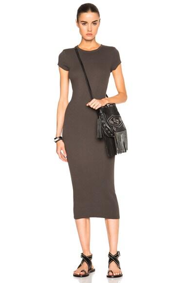 Enza Costa Rib Cap Sleeve Dress in Black Olive