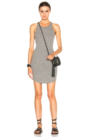 Enza Costa Rib Tank Baseball Dress in Heather Grey