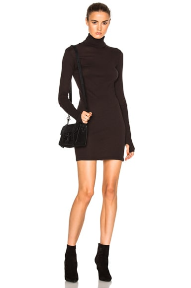Enza Costa Cashmere Long Sleeve Turtleneck Dress in Dark Brown