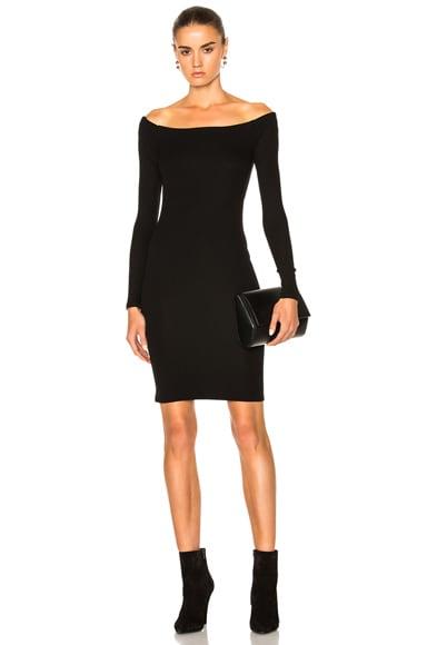 Enza Costa Off The Shoulder Mini Dress in Black