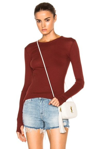 Enza Costa Cashmere Cuffed Crew Sweater in Russet