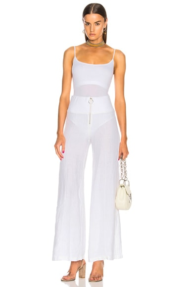 Linen Zip Pintuck Wide Leg Pants