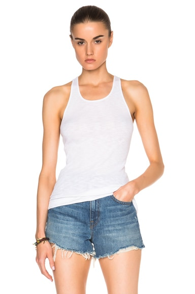 Enza Costa Rib Fitted Racer Tank Top in Cloud