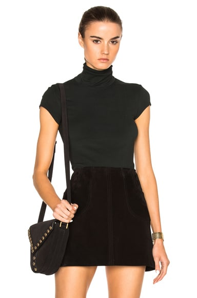 Enza Costa Cap Sleeve Turtleneck Tee in Deep Forest