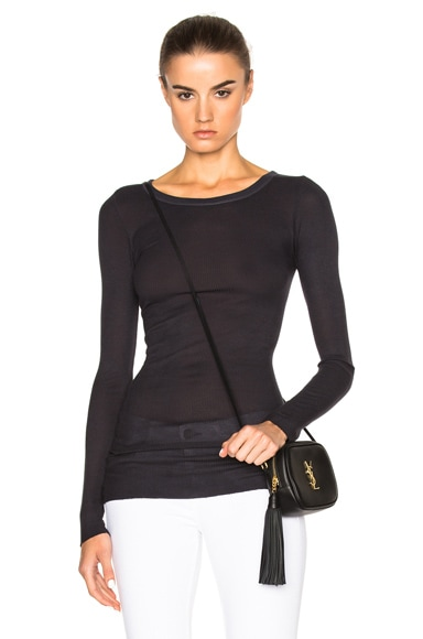 Enza Costa Rib Long Sleeve Tee in Phantom