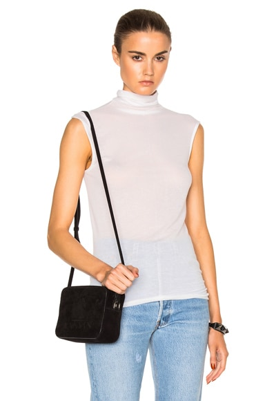 Enza Costa Sleeveless Turtleneck Tee in Winter White