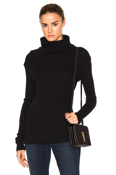 Enza Costa Cashmere Rib Turtleneck Sweater in Black