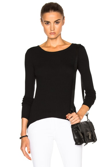 Enza Costa Long Sleeve Crew Tee in Black