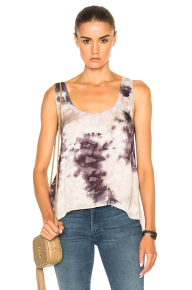 Enza Costa Loose Scoop Tank Top in Night Shade Print