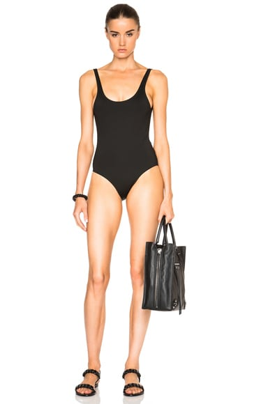 Ephemera Tank One Piece Swimsuit in Noir