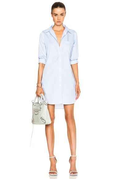 Equipment Brett Dress in Bright White & Periwinkle Blue