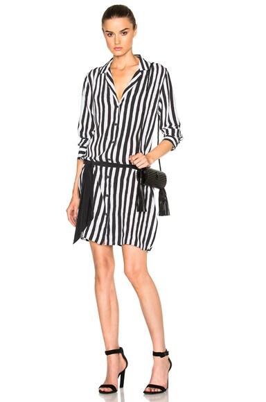 Equipment x Kate Moss Rosalind Dress in Bright White & True Black