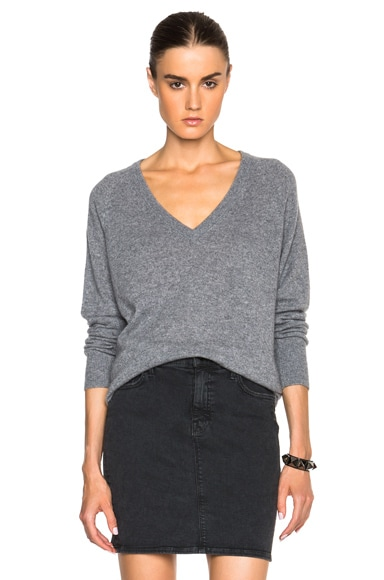 Equipment Aspen Cashmere V Neck in Heather Grey