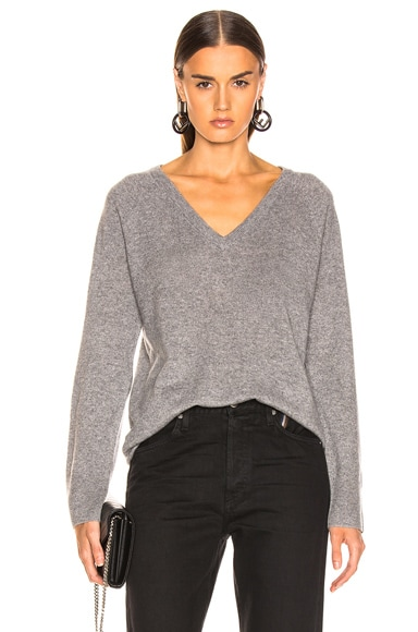 Equipment Asher Cashmere V Neck in Heather Grey