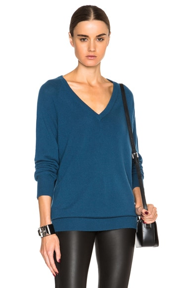 Equipment Cashmere Asher V-Neck Sweater in Majolica Blue