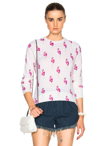 Equipment Sloane Flamingos Sweater in Happy Pink Multi & Ivory