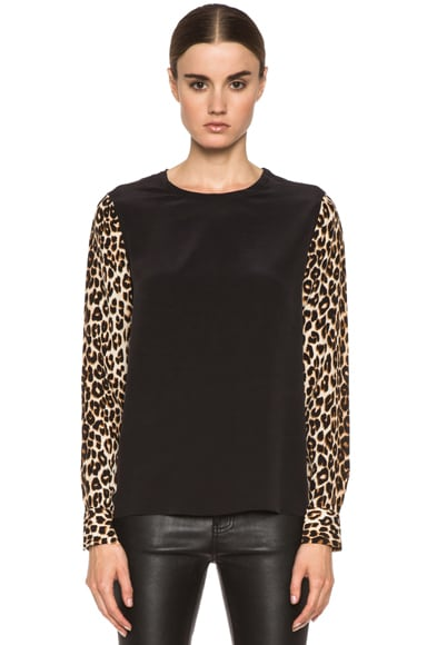 Liam Silk Top with Printed Sleeves