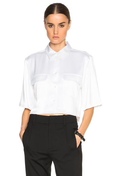Equipment Cropped Signature Top in Bright White