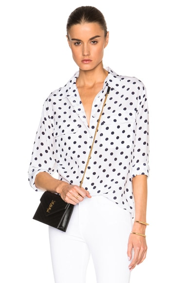 Equipment Signature Polka Dot Top in Bright White & Peacoat