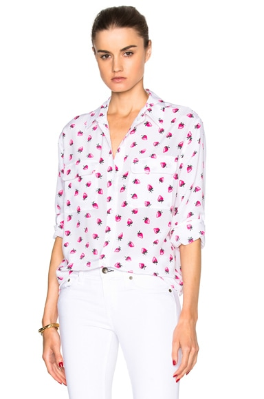 Equipment Signature Gathered Berry Top in Bright White