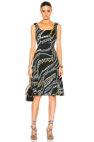 Erdem Tate Suzu Swirl Neoprene Jersey Dress in Black Multi