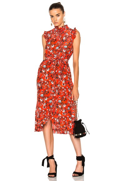 Erdem Sebla Convertine Crepe De Chine Dress in Red & White
