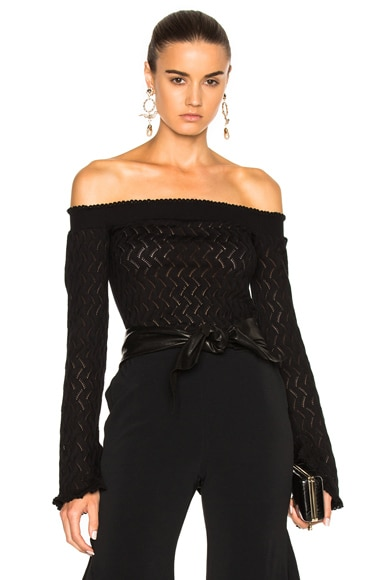 Erdem Bella Lace Knit Off The Shoulder Sweater in Black