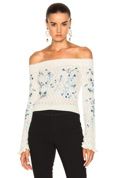Erdem Bella Embellished Lace Knit Off The Shoulder Sweater in Ivory
