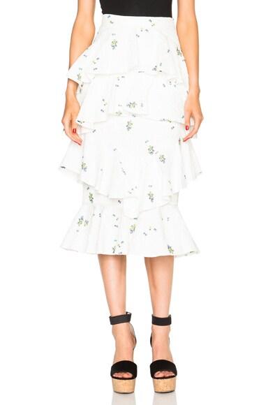 Erdem Ellen Ditsy Floral Skirt in White