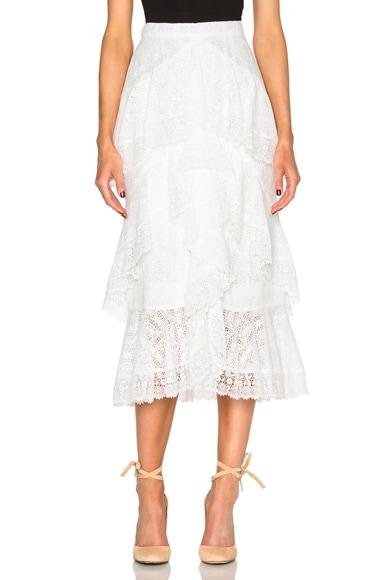Erdem Simone Crochet Lace Skirt in Ecru